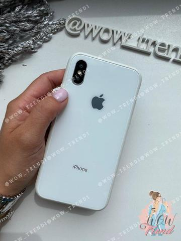 Чехол iPhone XS MAX Glass Pastel color Logo /white/