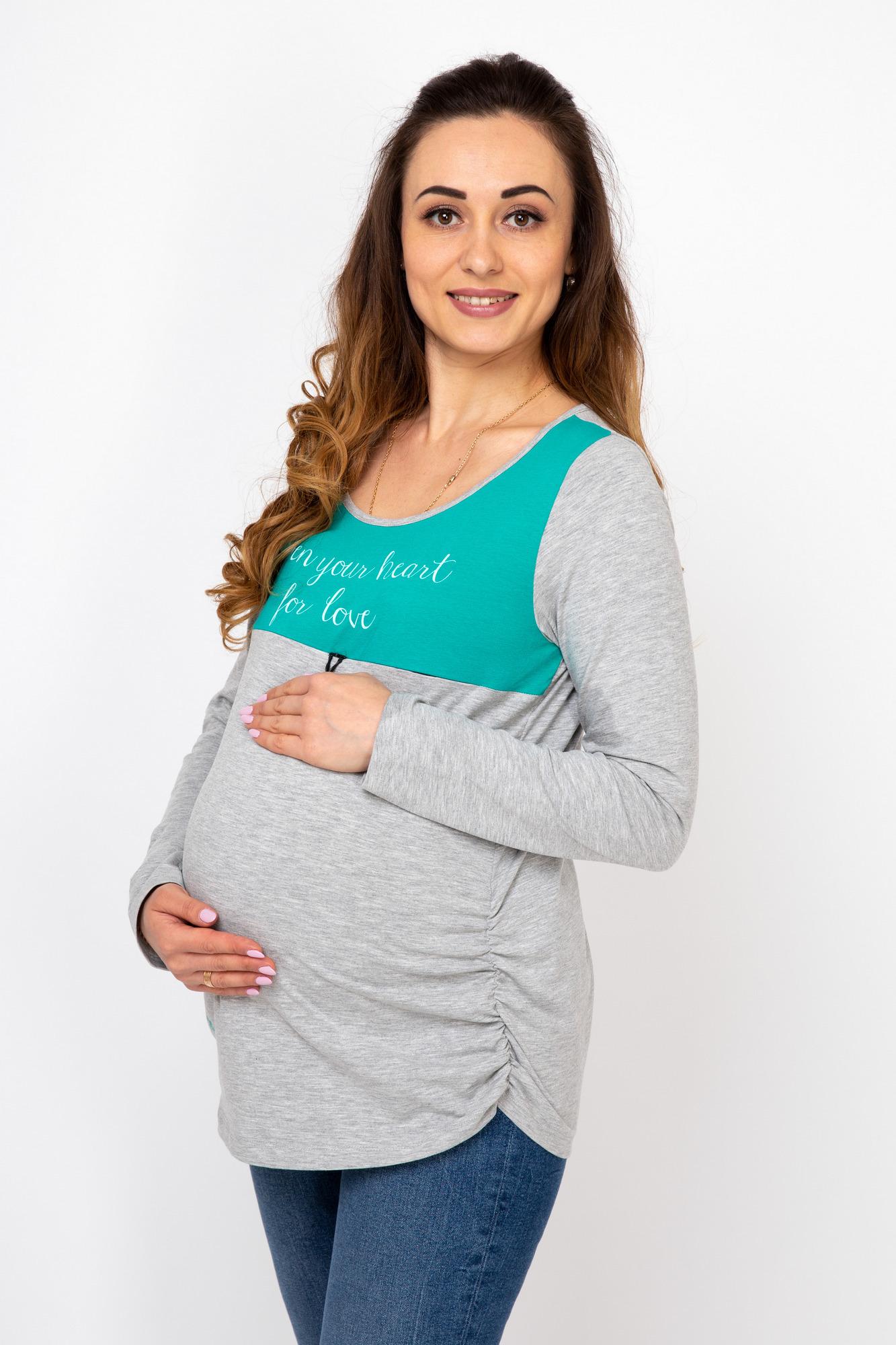 Лонгслив для беременных и кормящих 08119 зеленый