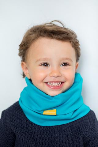 детский снуд-горловинка из хлопка гладкий бирюзовый
