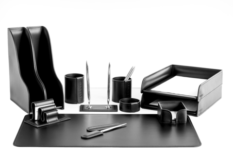 Настольный набор 12 предметов из кожи цвет черный №31