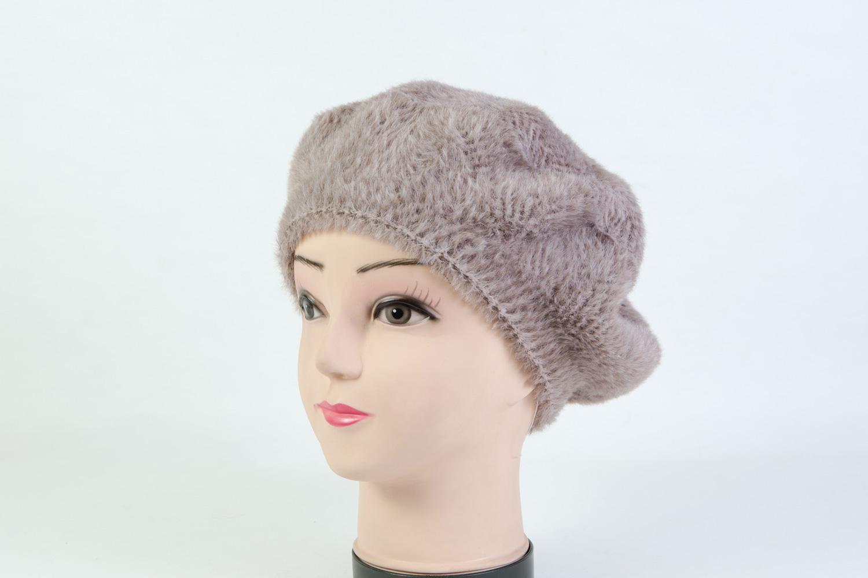 Женская шапка берет тёмно-бежевая SH B9082D