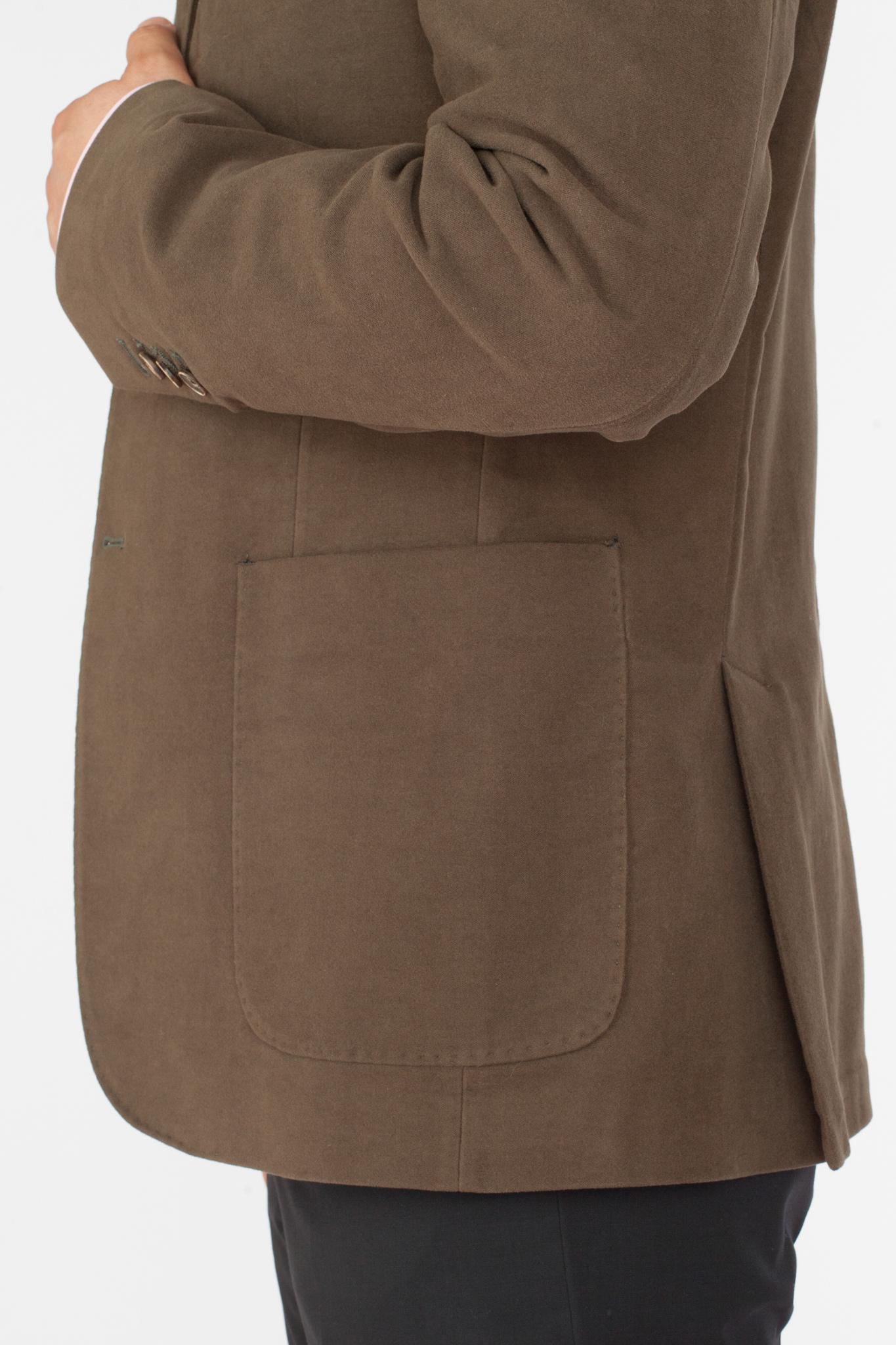 Зелёный (и коричневый) блейзер из 100%-ной шерсти, накладной карман