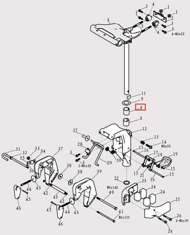 Втулка вала для лодочного мотора F9.8 Sea-PRO (13-8)