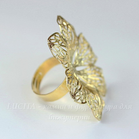 Основа для кольца с филигранным цветком 42 мм (цвет - золото)