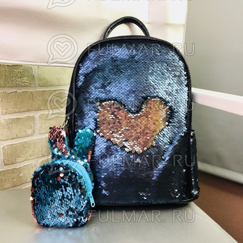 Рюкзак большой с пайетками меняющий цвет Морской Синий-Серебристый  30*25*10 см и ключница Зайчик модель Nina