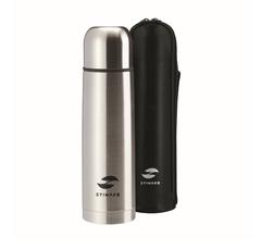 Термос Stinger с чехлом, 0,5 л, узкий, сталь, искусств. кожа, серебристый, чехол - чёрный