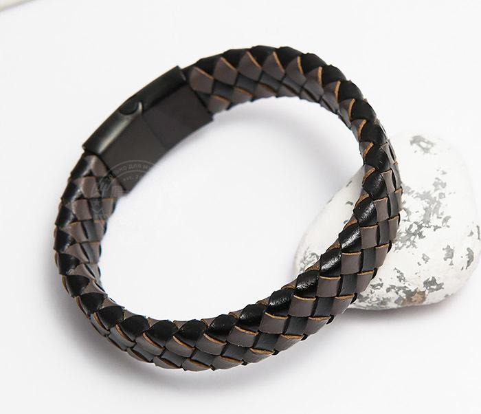 Фото - Monzo, Мужской плетеный браслет из натуральной кожи (20 см) мужской браслет из кожи со стальной проволокой 20 см