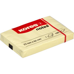 Стикеры Kores 75x50 мм пастельные желтые (1 блок, 100 листов)