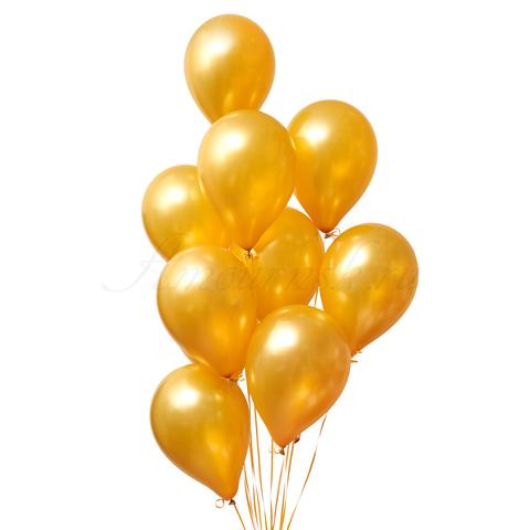 Воздушные шары золотые металлик