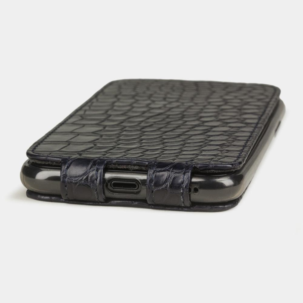 Чехол для iPhone 11 Pro из натуральной кожи аллигатора, темно-синего цвета
