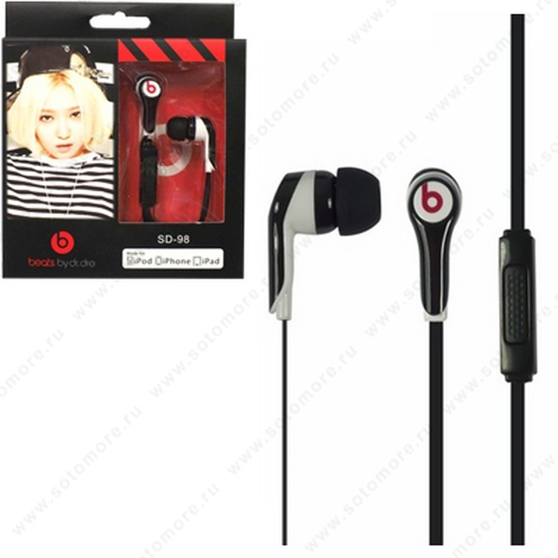Наушники by dr dre SD-98 проводные с микрофоном и кнопкой ответа черный