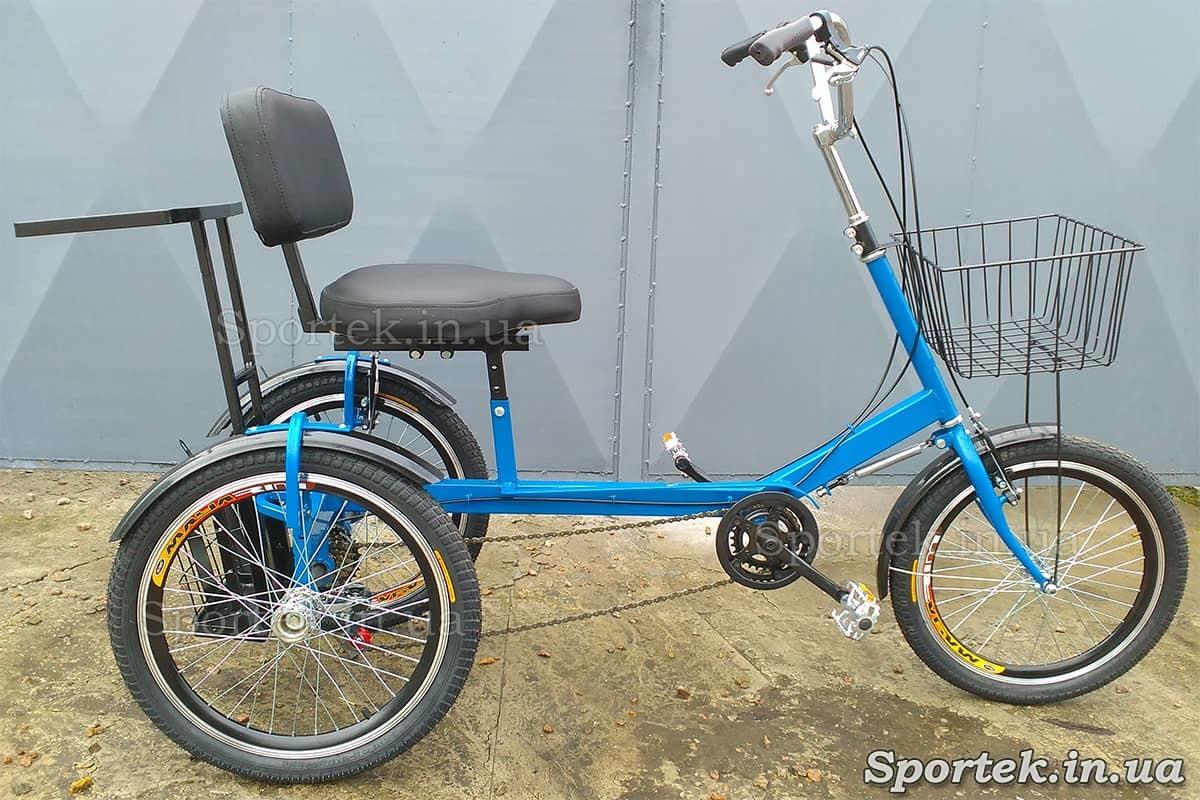 Трехколесный велосипед для людей весом 110-190 кг 'Атлет с корзинкой' (синий)