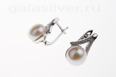 Серьги с жемчугом и цирконом из серебра 925