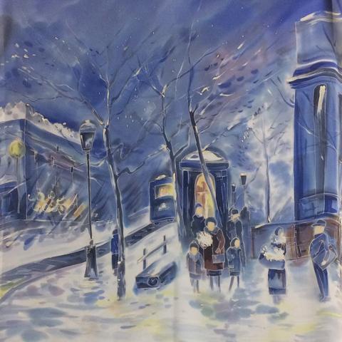 Платок батик Зимний город Закат С-60