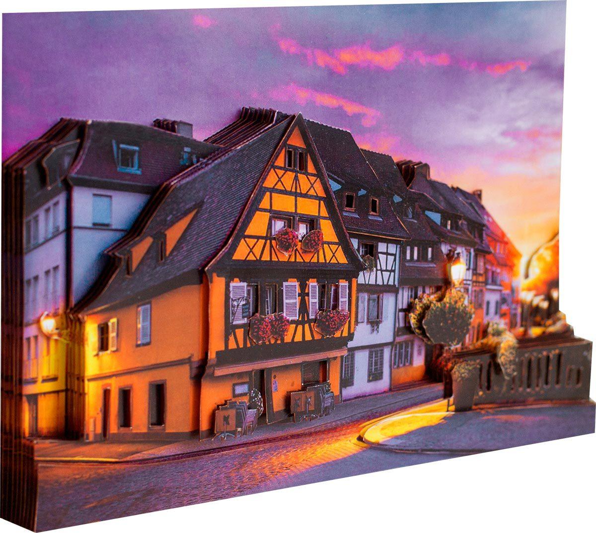 Папертоль Французские улочки — готовое изображение, вид сбоку.