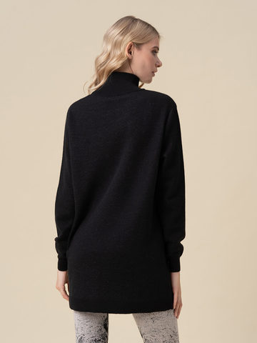 Женский свитер черного цвета из кашемира и вискозы - фото 4