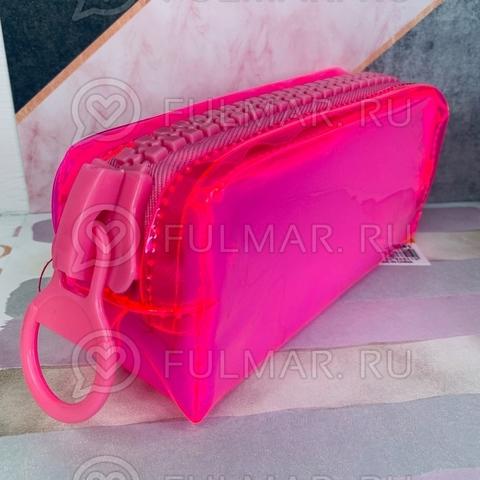 Неоновый прозрачный пенал на молнии-гигант большой Розовый-Малиновый школьный для девочки