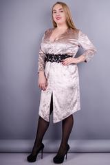 Рубин. Нарядное платье больших размеров. Бежевый.