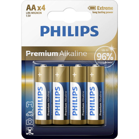 Батарейки Philips Premium Alkaline LR6, AA (4/48) BL