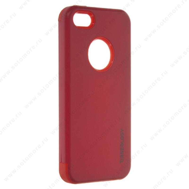 Накладка CASEOLOGY для Apple iPhone SE/ 5s/ 5 черная внутреняя резиновая накладка + сверху пластик красный Тип 1
