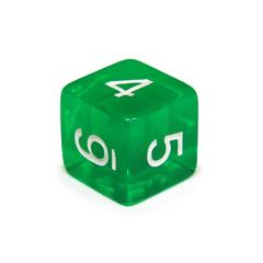 Куб D6 прозрачный: Зеленый 16мм с цифрами
