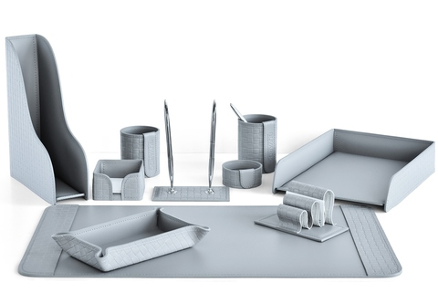 Набор настольный офисный из кожи серый 10 предметов с тиснением Treccia