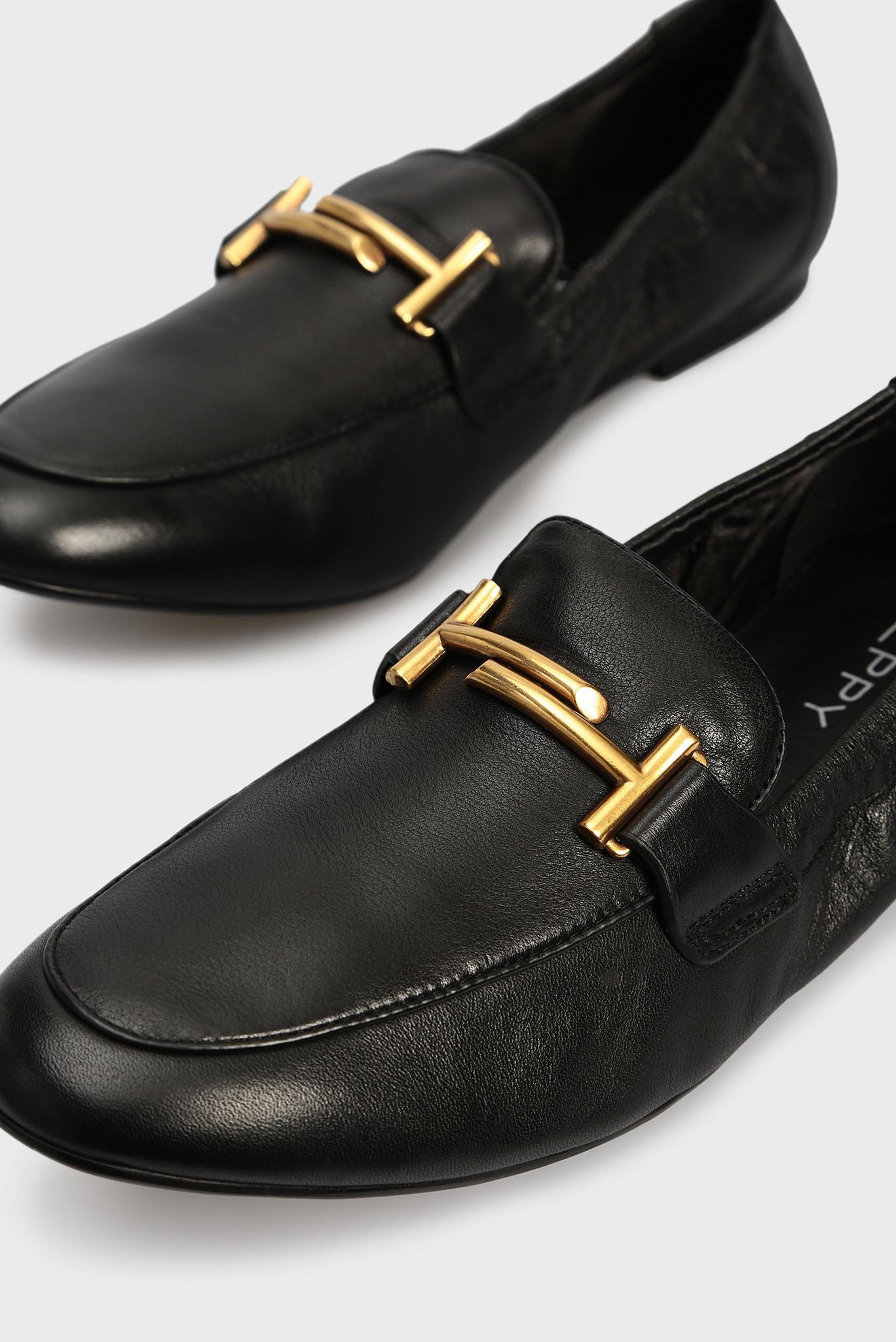 Женские черные кожаные слиперы Preppy