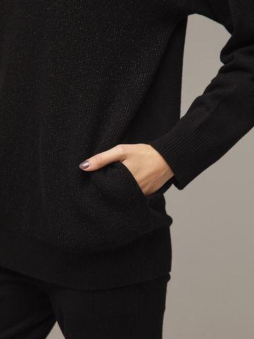 Женский черный джемпер с капюшоном из шерсти и кашемира - фото 2