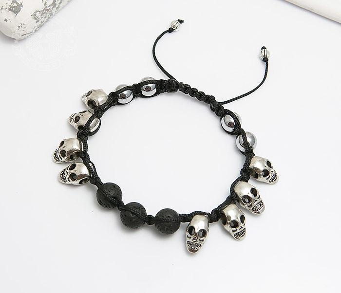 Boroda Design, Мужской браслет шамбала из вулканической лавы и черепов. «Boroda Design»