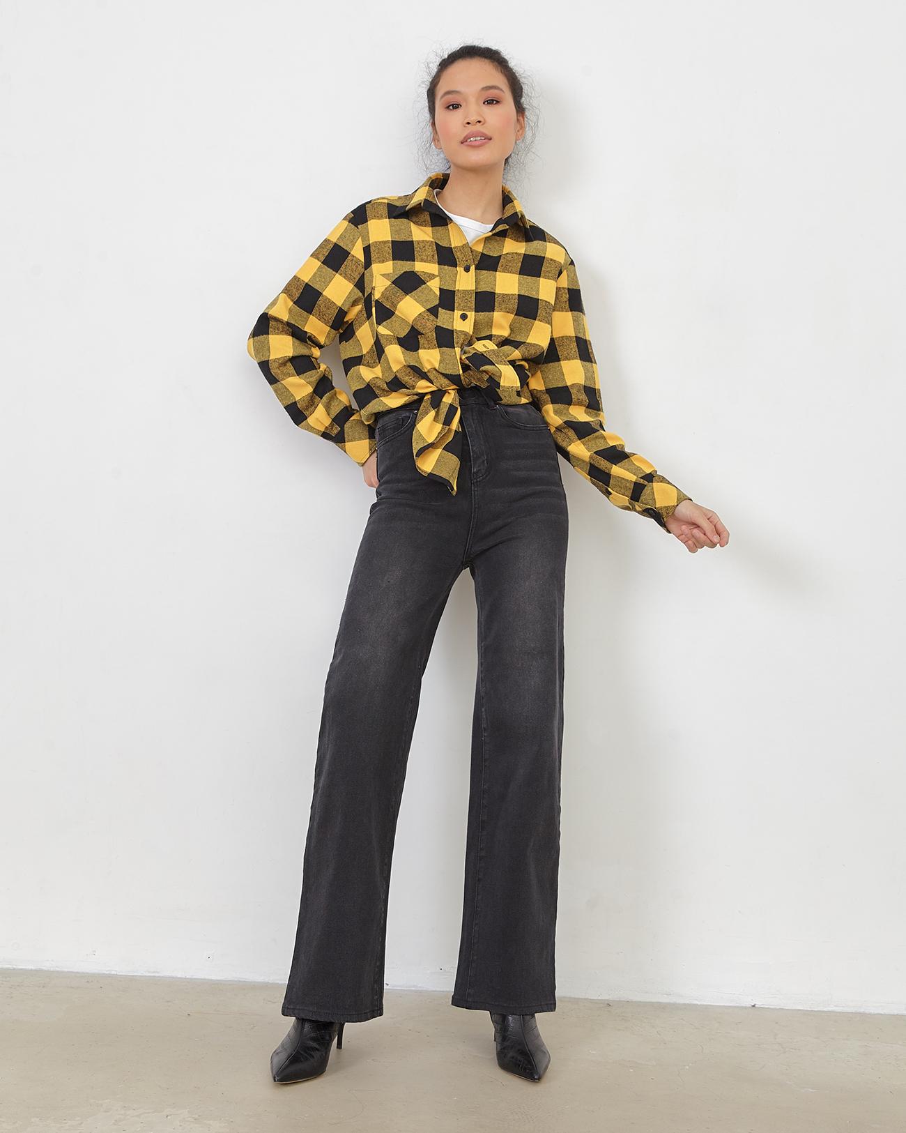 Рубашка черно-желтая клетка фото