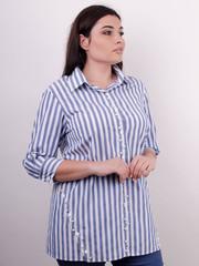 Дакота. Оригинальная женская рубашка больших размеров. Полоса.