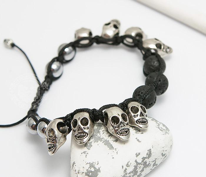BS552 Мужской браслет шамбала из вулканической лавы и черепов. «Boroda Design» фото 04