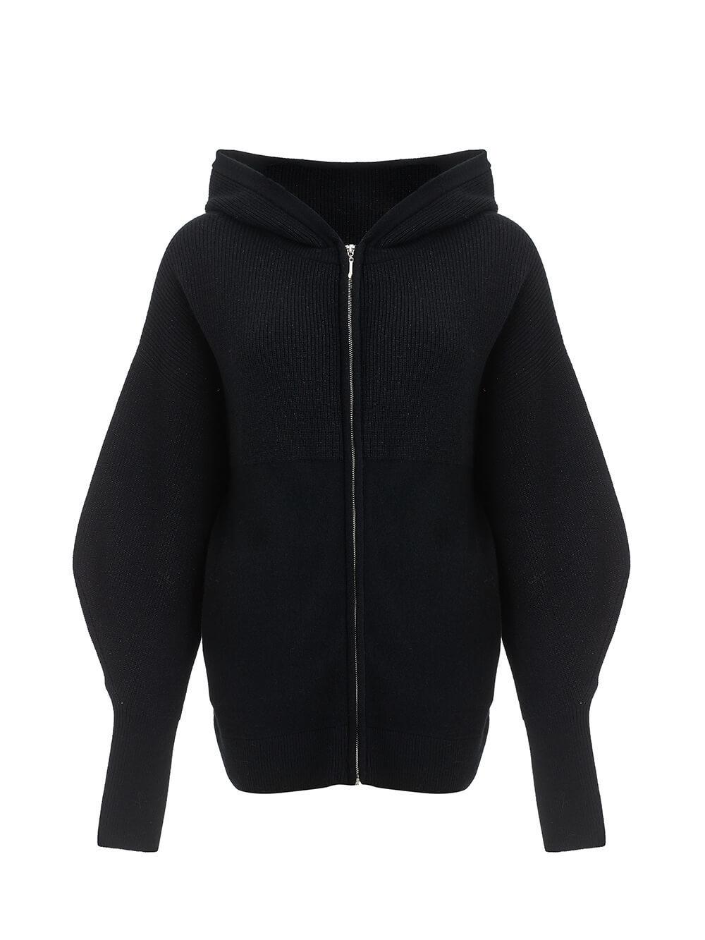 Женский джемпер на молнии черного цвета из шерсти и кашемира - фото 1