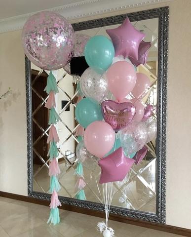 Фонтан из шаров  Тиффани в розовом