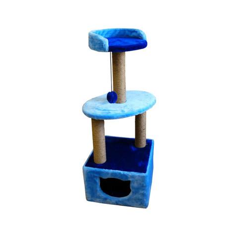 Зооэкспресс комплекс Куб с полкой и лежанкой (мех, однотонный джут) 40*40*120см
