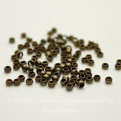 Кримпы - зажимные бусины 2х1,2 мм (цвет - античная бронза) 2 гр (около 160 штук)