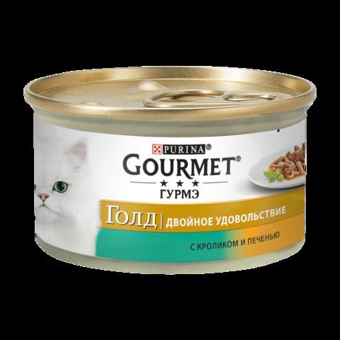 Gourmet Gold Консервы для кошек Двойное удовольствие с Кроликом и печенью