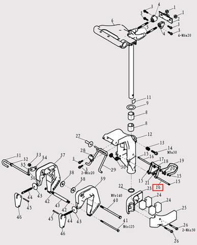 Вал наклона шпинделя (верхний) Φ6*82 для лодочного мотора F9.8 Sea-PRO (13-16)