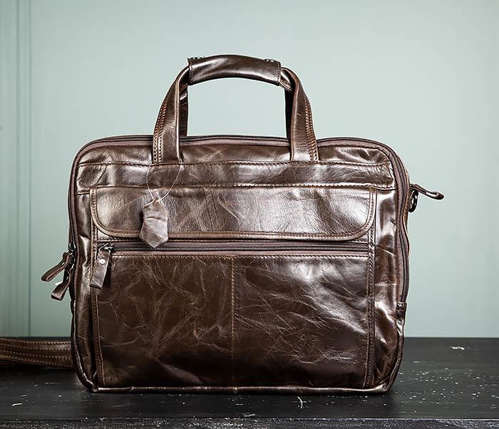 BAG490-2 Мужской коричневый кожаный портфель с ремнем