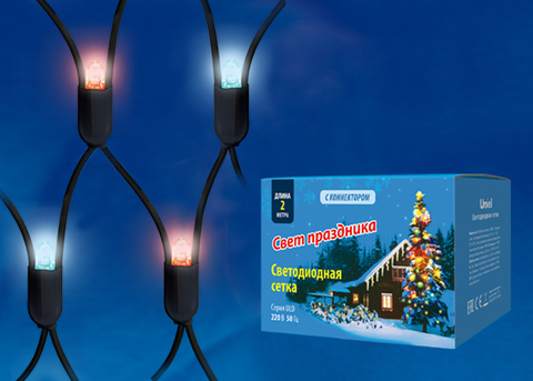 ULD-N2015-288/SBK RED-BLUE IP67 Сетка светодиодная, статическое свечение, 2*1,5м. Соединяемая. 288 светодиодов. Красно-синий свет. Провод черный. TM Uniel.