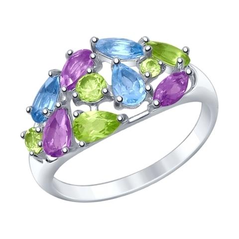 92011378- Кольцо из серебра с миксом полудрагоценных камней