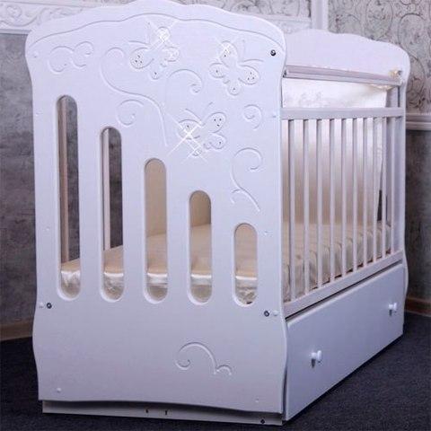 Кроватка детская Бабочка маятник поперечный с ящиком (белый)