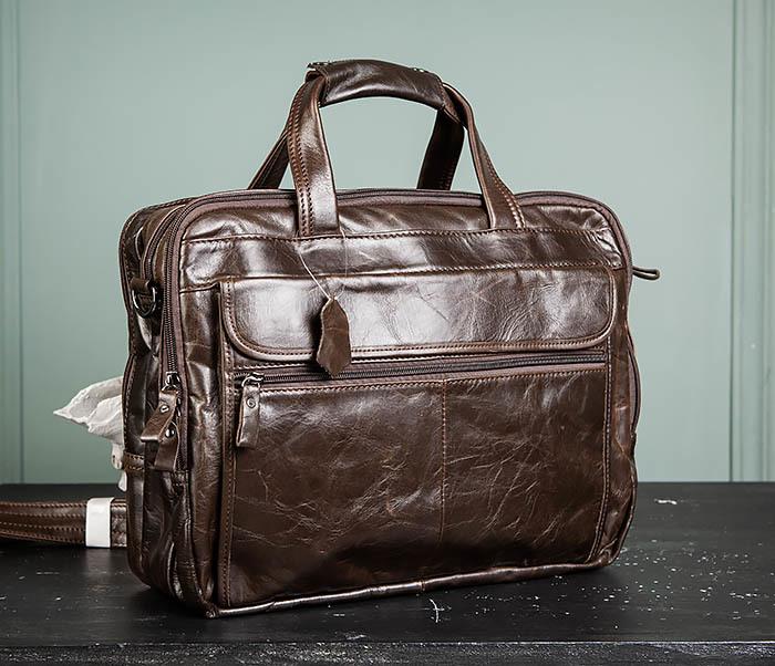 BAG490-2 Мужской коричневый кожаный портфель с ремнем фото 02