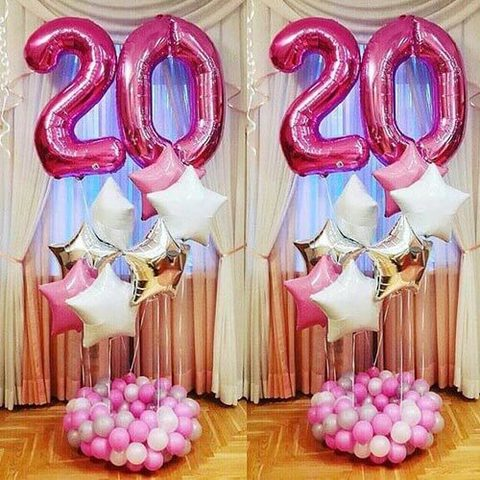 Фонтан из шаров на 20 лет