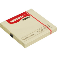 Стикеры Kores бум.для зам. 75х75 желтая 100л. ?46075