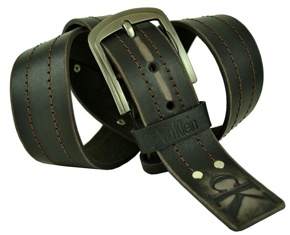 Мужской коричневый кожаный ремень 45Millen-082