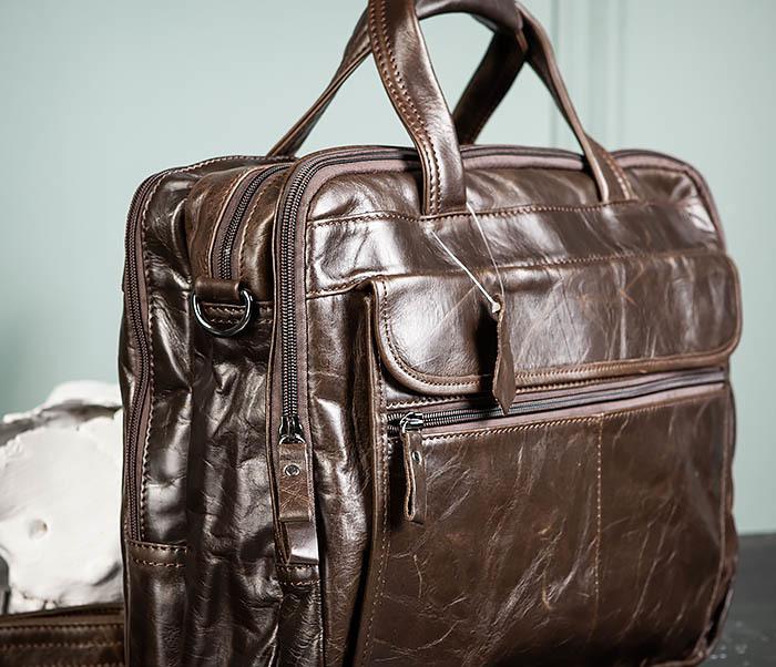 BAG490-2 Мужской коричневый кожаный портфель с ремнем фото 03