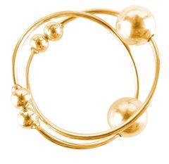 Золотистые клипсы на грудь с шариком Gold Nipple Bull Rings