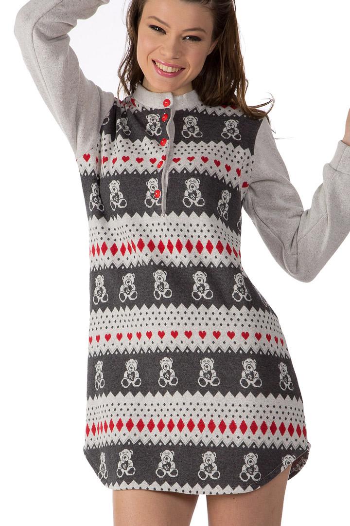 Теплое домашнее платье с мишками DolceVita