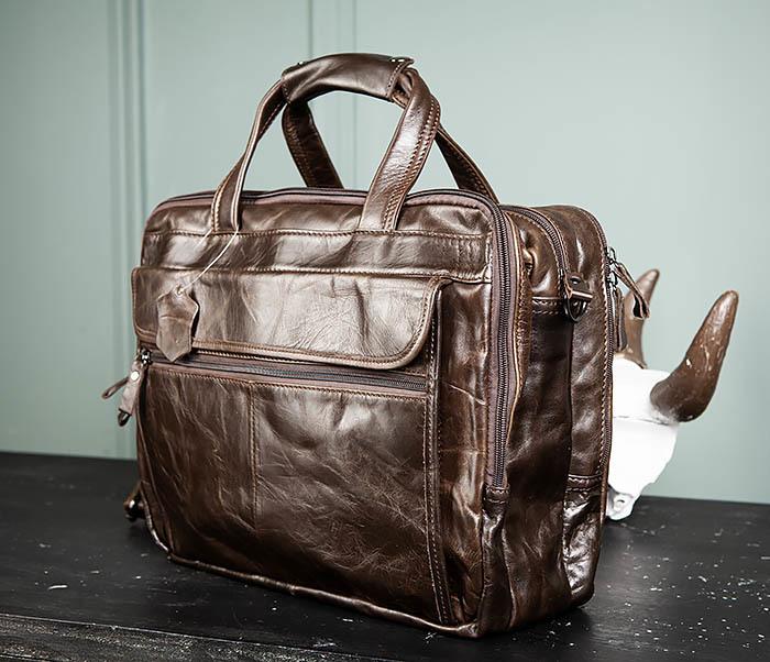 BAG490-2 Мужской коричневый кожаный портфель с ремнем фото 04